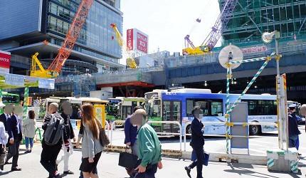澀谷東口巴士站周邊在進行車站搬遷的工程