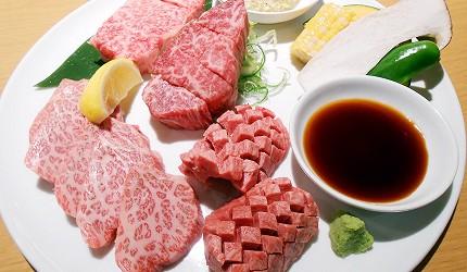 北海道札幌車站北海道和牛與海鮮推薦「YAKINIKU BAR TAMURA」的北海道和牛嚴選組合