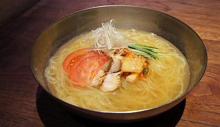北海道札幌車站北海道和牛與海鮮推薦「YAKINIKU BAR TAMURA」的自家製的鹽味冷麵(自家製 しお冷麺)