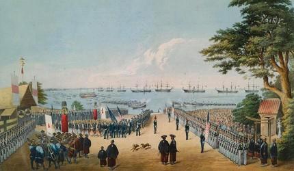 1854年培里再度率領艦隊來到日本