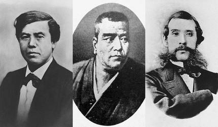 「維新三傑」由左至右是:木戶孝允(桂小五郎)、西鄉隆盛、大久保利通