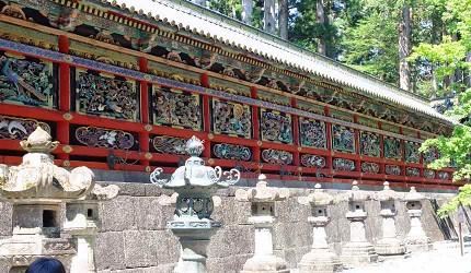 「陽明門」兩旁的「迴廊」被列為日本國寶