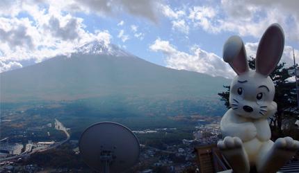 日本的富士山附近的天上纜車和吉祥物兔子