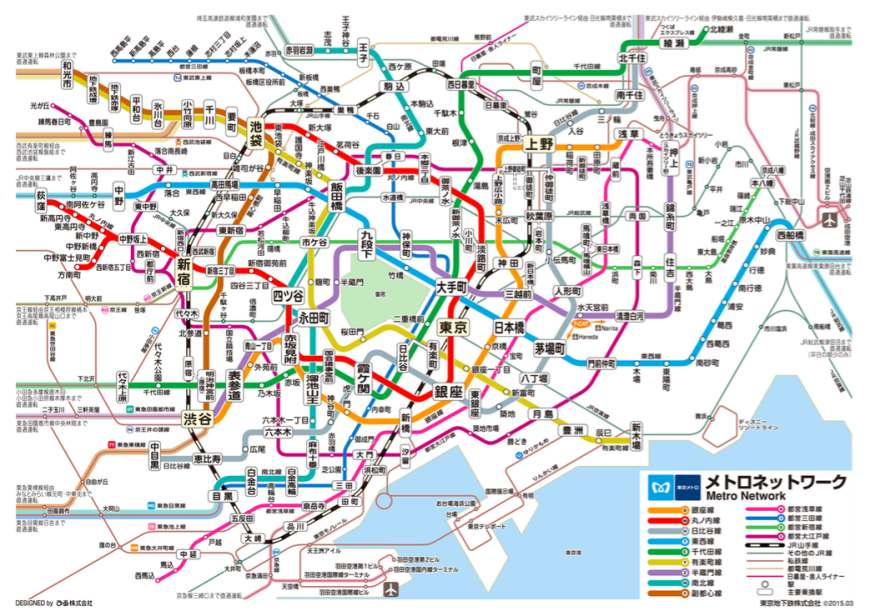 东京Metro地铁银座缐、丸之内缐、日比谷缐、东西缐、千代田缐、有乐町缐、半藏门缐、南北缐与副都心缐路缐图