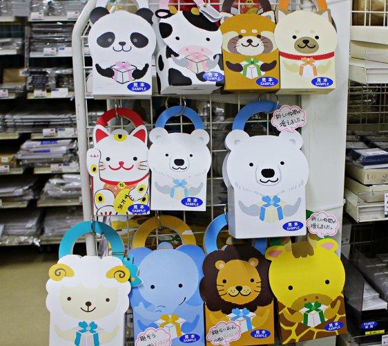 「シモジマ 下岛包装广场 浅草桥本店」贩售的限定可爱动物造型手提纸盒