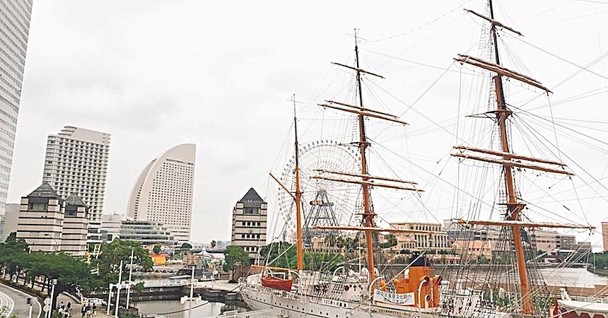 橫濱的帆船日本丸船