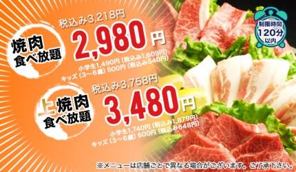 日本燒肉風風亭的吃到飽方案