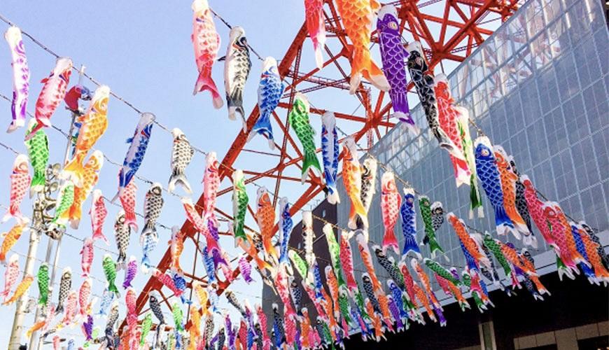 日本春天東京鐵塔示意圖