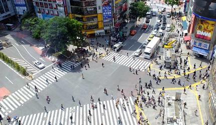 白天的澀谷站前十字路口人比較少