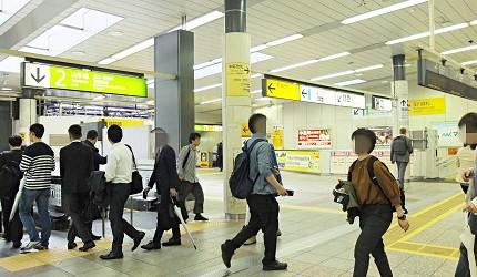 澀谷車站內月台之間的移動要經過不同樓層