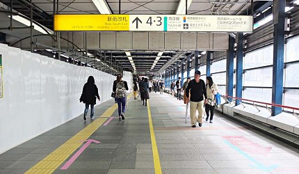 JR澀谷站內前往「新南剪票口」和3、4號月台的聯絡通道
