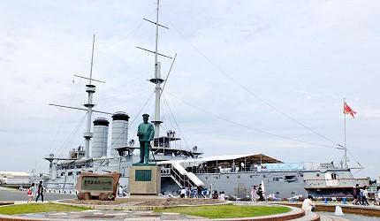 世界三大紀念艦「三笠艦」與東鄉平八郎司令長的銅像