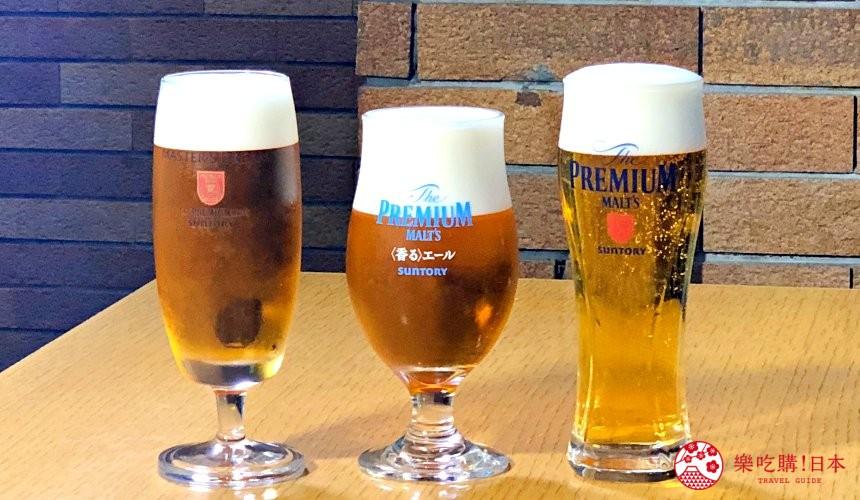 東京免費景點推薦:可以免費試喝啤酒「SUNTORY三得利東京武藏野啤酒工廠」裡的啤酒試喝時間可以試喝「The Premium Malt's」(ザ・プレミアム・モルツ)、「The Premium Malt's〈香濃〉Ale」(ザ・プレミアム・モルツ〈香る〉エール)、「The Premium Malt's Master's Dream」(ザ・プレミアム・モルツ マスターズドリーム)