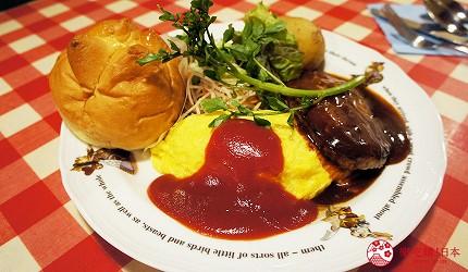 東京極品蛋包飯推薦「RAKERU」的KUKU番茄雞肉的蛋包飯和漢堡排