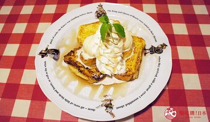 東京極品蛋包飯推薦「RAKERU」的法式吐司佐香草冰淇淋和鮮奶油