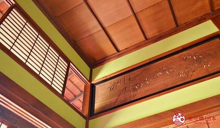 東京柴又老街推薦必去日本庭園「山本亭」內的主室木樑