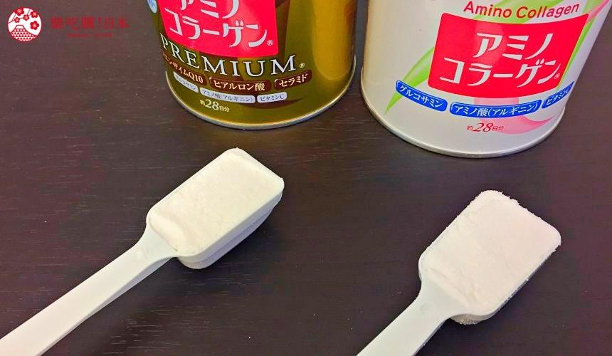 日本藥妝店熱賣的明治「膠原蛋白粉」、「膠原蛋白粉PREMIUM」的粉末外觀