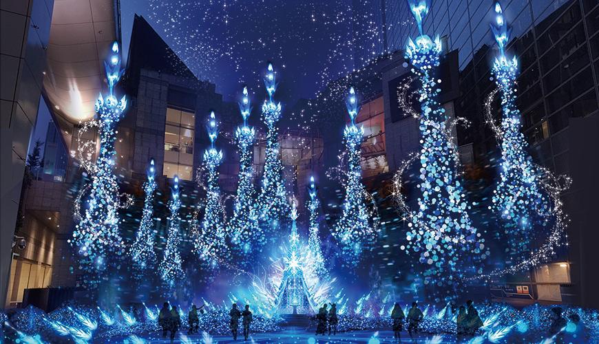 东京豪华梦幻2018~2019冬季点灯!「Caretta汐留」迪士尼公主系列灯饰至2/14