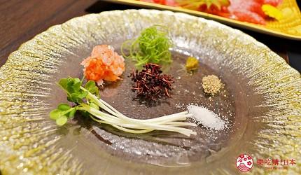 東京高級和牛涮涮鍋推薦:新宿歌舞伎町「牛龍」神戶牛特選涮涮鍋套餐的佐料
