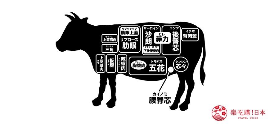 日本和牛稀少部位示意圖