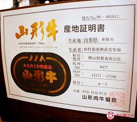 東京高田馬場燒肉激戰區的A5黑毛和牛絕品美味「吟まるJr.」的山形牛產地證明書