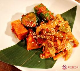 東京高田馬場燒肉激戰區的A5黑毛和牛絕品美味「吟まるJr.」的泡菜拼盤(キムチ盛合せ)