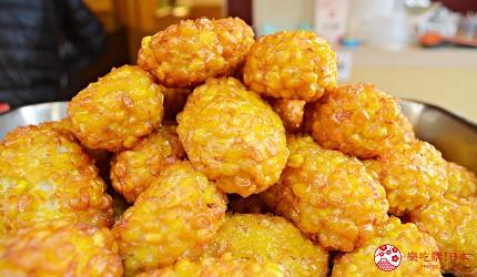 築地市場美食推薦「味の浜藤」的炸玉米(もろこし揚げ)