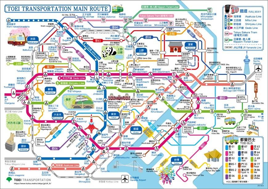 東京自由行交通都營一日乘車券搭乘範圍