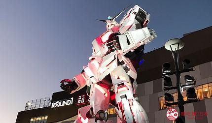 東京自由行景點台場逛街購物夜間鋼彈表演