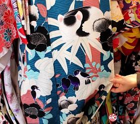 日光東照宮附近和服體驗店家「うたかた」和服融入眠貓與麻雀元素