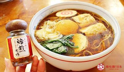 日光東照宮在地人氣美食推薦「魚要」的「湯波蕎麥麵」的蕎麥麵與七味粉