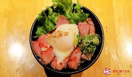 日本國產牛吃到飽推薦「燒肉風風亭」的半熟蛋牛肉片蓋飯(半熟玉子のローストビーフ丼)