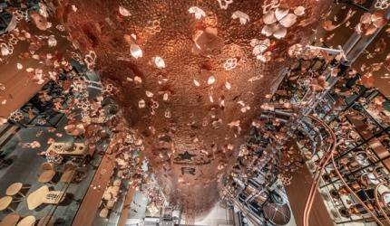 隈研吾設計東京中目黑「星巴克臻選®東京烘焙工坊」的天花板