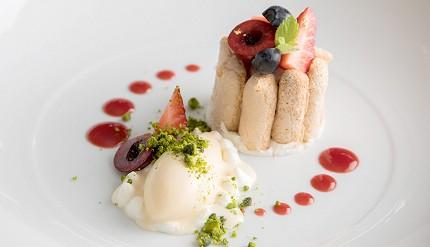 輕井澤餐廳住宿Auberge-de-Primavera法式料理莓果夏洛特檸檬草霜淇淋