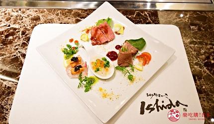 東京的神戶牛鐵板燒專門店「神戸牛すてーきIshida. 銀座本店」提供的前菜色香味俱備