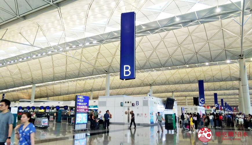 香港國際機場離境樓層B段航空櫃位