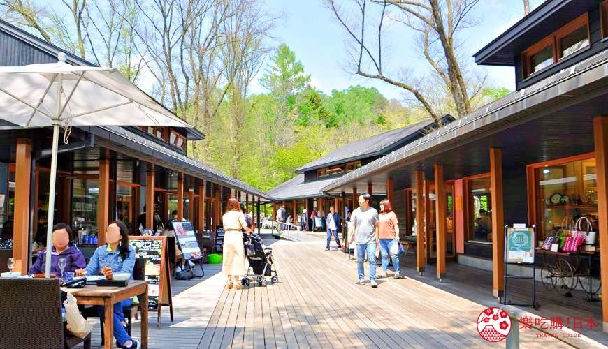 日本長野輕井澤一日遊「舊輕井澤銀座通」的「榆樹街小鎮」一景
