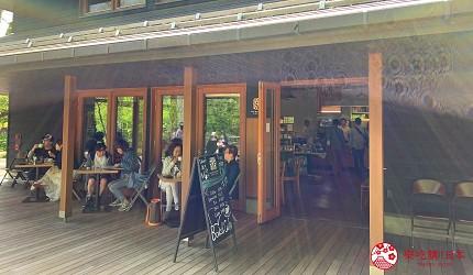 日本長野輕井澤一日遊「舊輕井澤銀座通」的「榆樹街小鎮」的「HARVEST NAGAI FARM」店門口座位