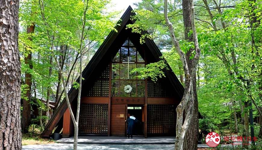 日本長野輕井澤一日遊必去人氣景點「高原教會」外觀