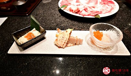 位於銀座地區,能一次吃遍日本三大和牛的和牛涮涮鍋店「銀座しゃぶ輝」內提供的前菜拼盤