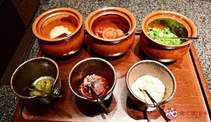 位於銀座地區,能一次吃遍日本三大和牛的和牛涮涮鍋店「銀座しゃぶ輝」內提供的六款調味沾醬