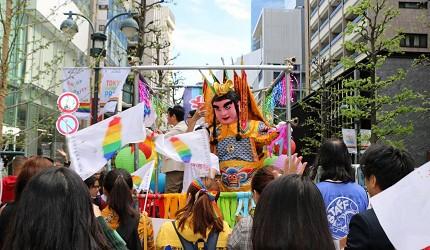 亚洲同志第2友善城市「东京」的东京彩虹游行台湾电音三太子参加