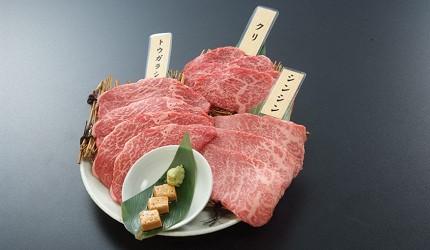 距離「MITSUI OUTLET PARK木更津」只需10分鐘步程,以親民價格提供和牛燒肉料理的「焼肉DINING大和 木更津金田店」提供的高品質3種類稀有部位瘦肉拼盤