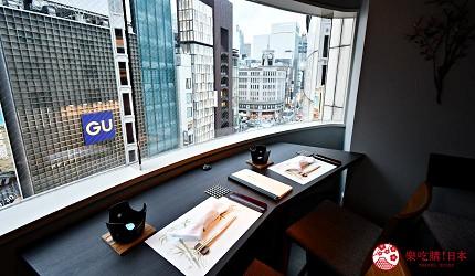 日本東京旅遊銀座高級壽司推薦推介江戶前壽司OMAKASE「鮨ふくじゅ」的外望銀座的景觀