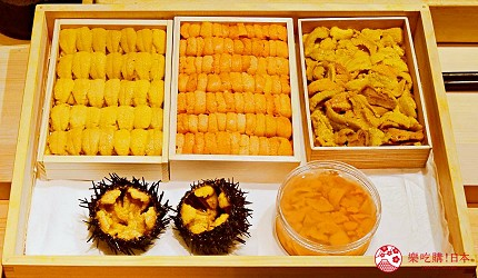 日本東京旅遊銀座高級壽司推薦推介江戶前壽司OMAKASE「鮨ふくじゅ」的五種海膽比較拼盤(雲丹五種の食べ比べ )ウニ