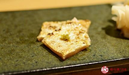 日本東京旅遊銀座高級壽司推薦推介江戶前壽司OMAKASE「鮨ふくじゅ」的縞鰺生魚片しま鯵刺身