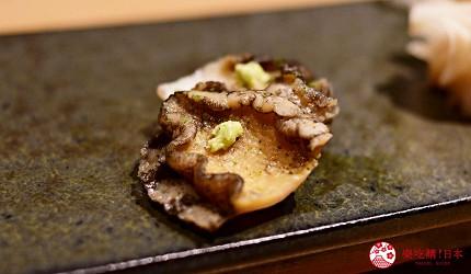 日本東京旅遊銀座高級壽司推薦推介江戶前壽司OMAKASE「鮨ふくじゅ」的蒸鮑魚生魚片蒸し鮑刺身