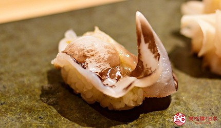 日本東京旅遊銀座高級壽司推薦推介江戶前壽司OMAKASE「鮨ふくじゅ」的生鳥貝(生とり貝)