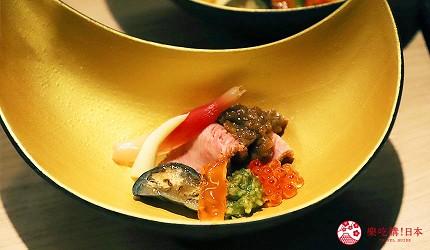東京吃和牛涮涮鍋推薦新宿「しゃぶ匠 一二新宿」的最高級黑毛和牛A5但馬太田牛涮涮鍋套餐的菜餚烤牛肉與時蔬