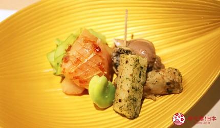東京新宿歌舞伎町高級壽司店推薦「鮨佐和」的前菜真旗魚、海螺、炸山芋